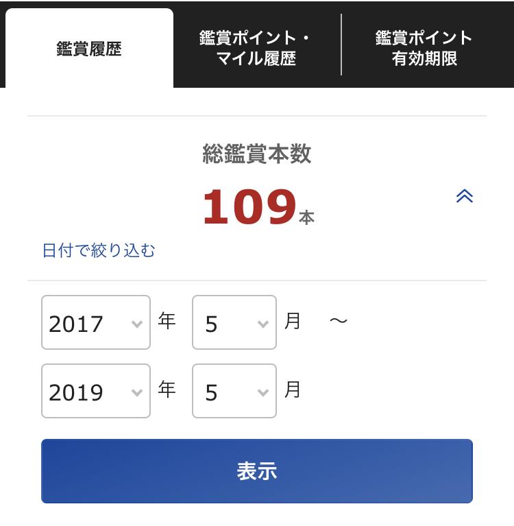 2017年5月〜2019年5月まで109本の映画を観ていました。