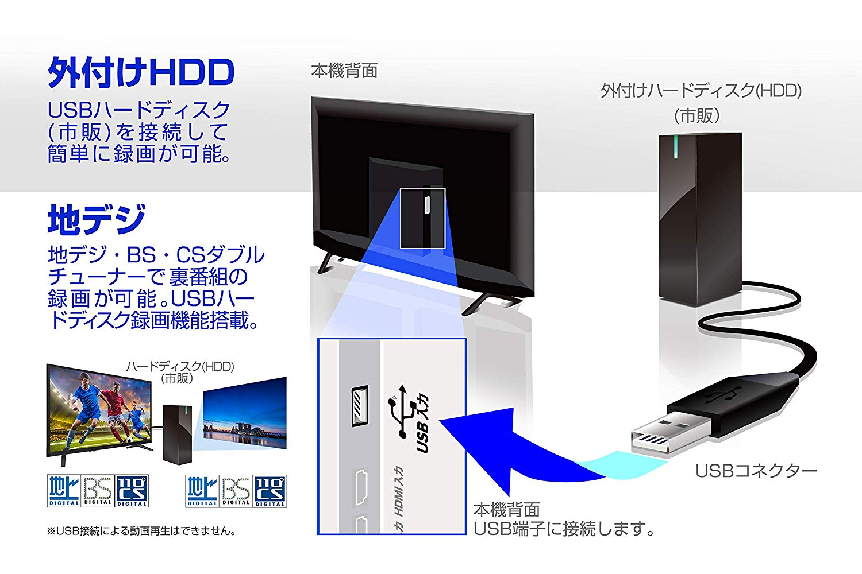 外付けHDD録画対応、PCモニターとしても使用可能でゲームにも最適!