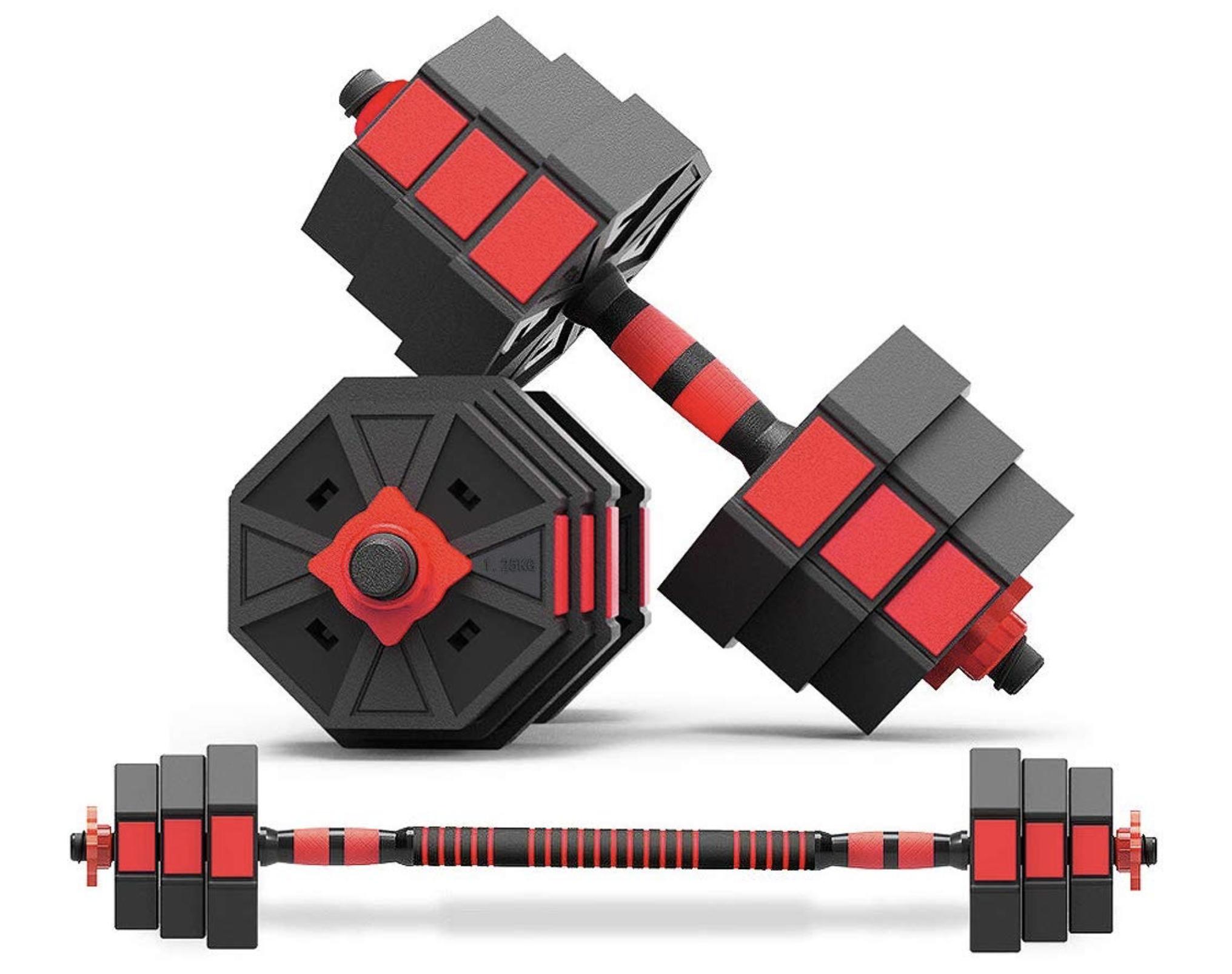 ダンベル 20kg 可変式 八角形構造 【最新進化版・3in1】 バーベルに変更可能 20kgセット(10kgx2) アレー 錆びない Wolfyok 筋トレ アレイ ウェイトトレーニング器具